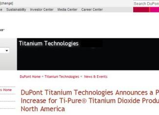 DuPont поднимает цены на диоксид титана
